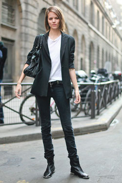 Streets of Paris:  boyfriend blazer, white tee, black denim