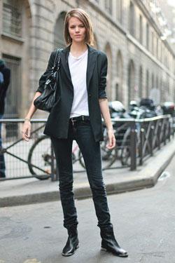 Streets of Paris:  boyfriend blazer, white tee, black denim